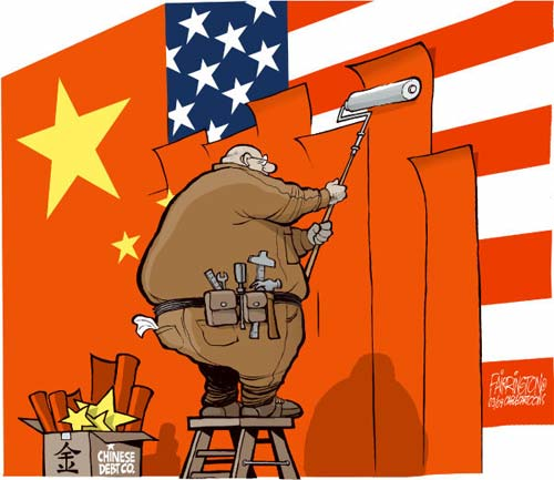 China debt cartoon