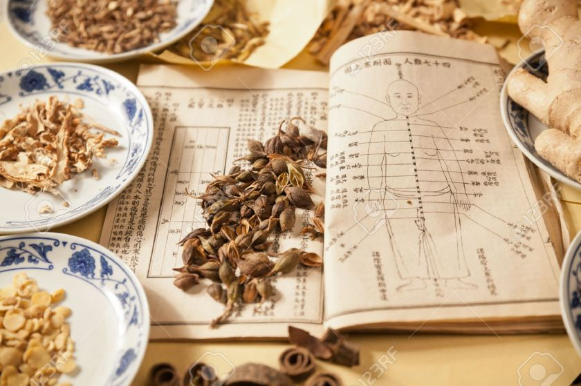 31381788-Ancient-Chinese-medical-books-in-the-Qing-Dynasty-the-Chinese-herbal-medicine-on-the-table-Stock-Photo